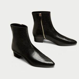 Black Beatle Boots by Zara - Size 39